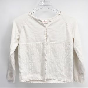 Hanna Andersson White Cotton Cardigan Size 10